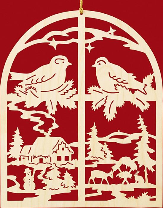 Fensterbild Weihnachten Winterabend am Fenster