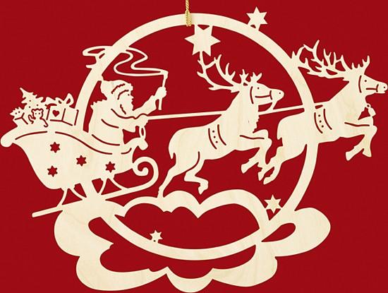 Fensterbild Weihnachten Rentierschlitten mit Weihnachtsmann
