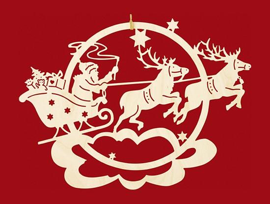 Fensterbild / Wandbild,  Weihnachten Rentierschlitten mit Weihnachtsmann - klein