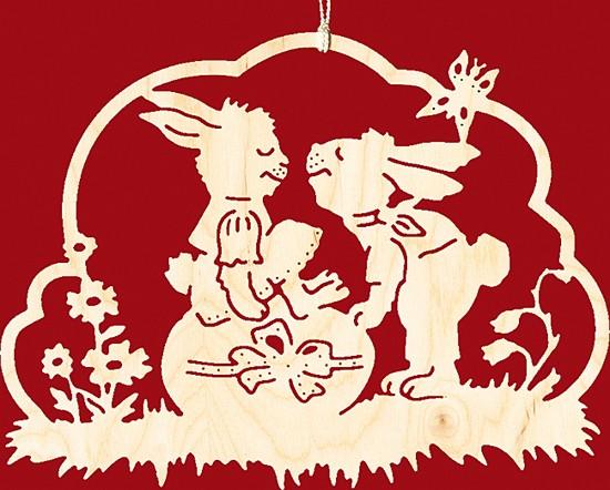 Fensterbild Ostern Hasenliebespaar