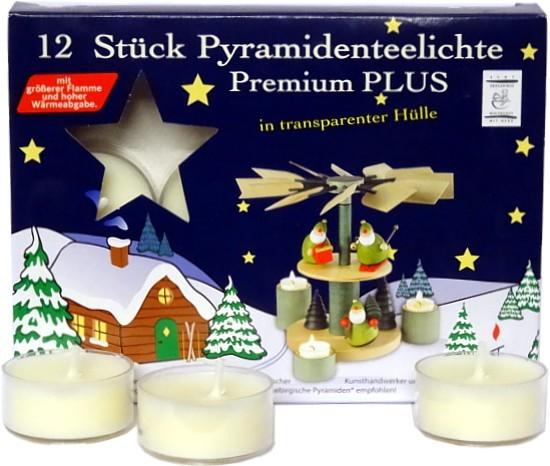 12 Pyramidenteelichte Premium Plus