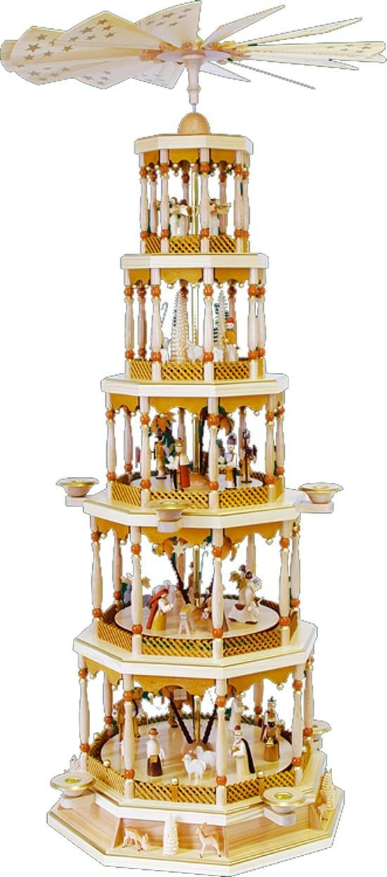 Pyramide Christi Geburt 5stöckig mit Spielwerk Natur