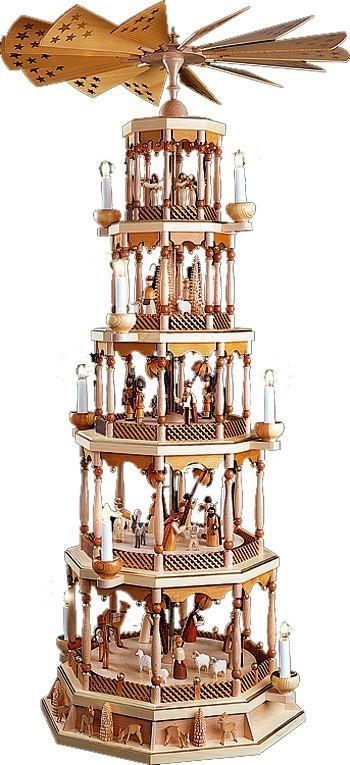 Weihnachtspyramide Christi Geburt, 5stöckig, Natur, mit Spielwerk