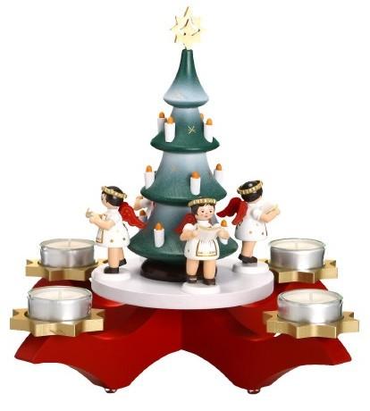 Adventsleuchter rot, mit Baum und 4 Engeln, farbig