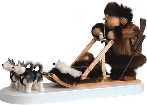 Räuchermännchen Hundeschlittenführer (Musher) mit Huskys