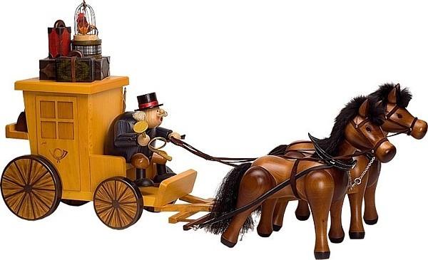 Räuchermann Postillion mit Postkutsche und Pferde
