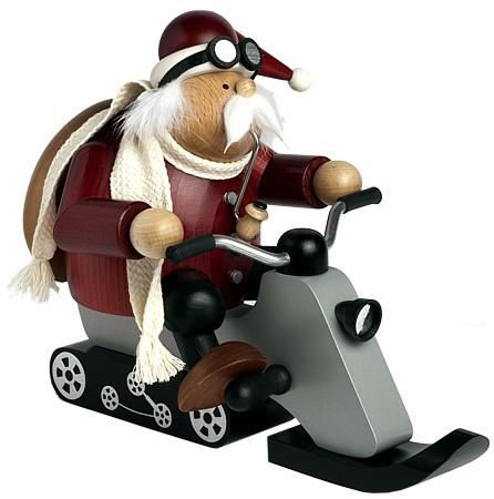 Räuchermann Weihnachtsmann auf Motorschlitten