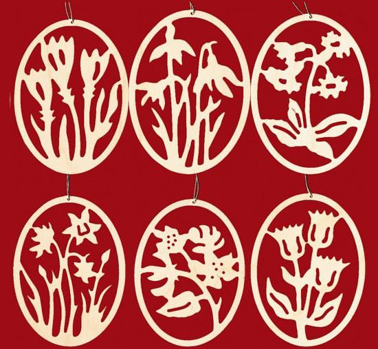 Baumbehang 6er Set: Ostereier mit Blumendekor