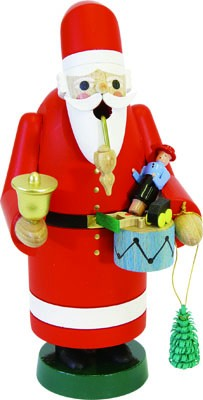 Räuchermann Weihnachtsmann mit Glocke und Spielzeug