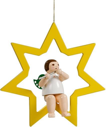 großer Engel im Stern mit Querflöte - hängend, ohne Krone