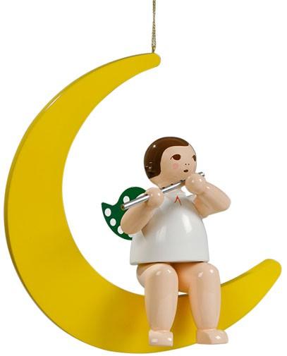 großer Engel hängend auf Mond mit Querflöte - 22 cm -