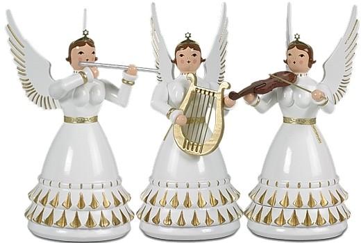 3 Rokoko Engel mit Instrumenten