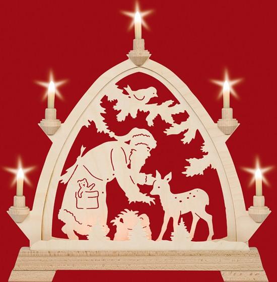 Kleiner gotischer elektr. Bogen, Weihnachtsmann mit Reh