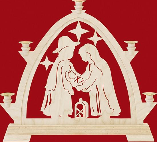 Kleine gotische Bögen für Wachskerzen, Christgeburt