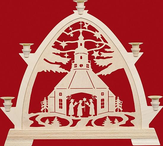 Kleine gotische Bögen für Wachskerzen, Seiffener Kirche