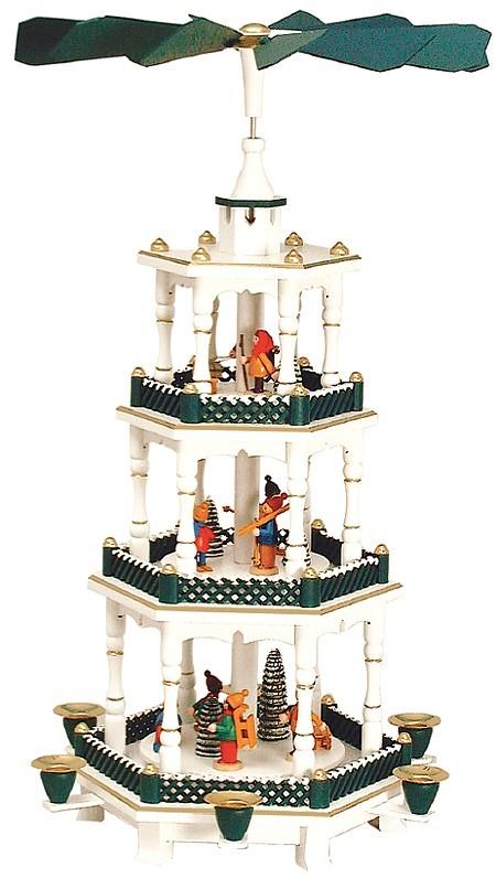 Weihnachtspyramide Winterkinder verschneiter Zaun 3stöckig