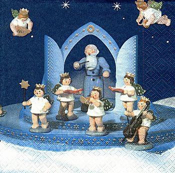 Servietten,  Petrus und Engel mit Krone