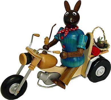 Rauchender Biker Hase, braun