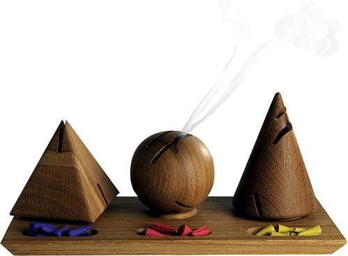 modernes dekoratives Räucherset aus edlem Holz