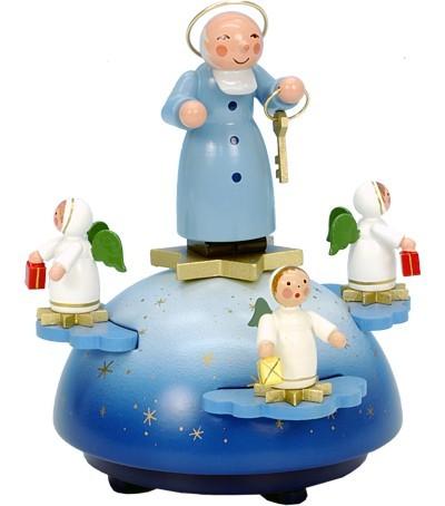 Spieldose Petrus mit Engel farbig