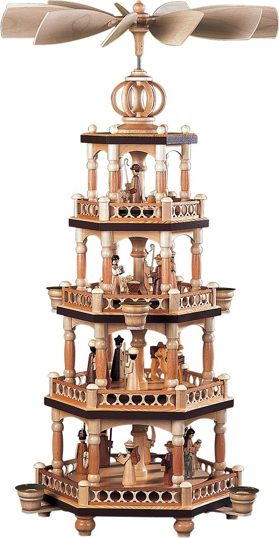 Pyramide heilige Geschichte mit Säulendesign 4-stöckig Natur