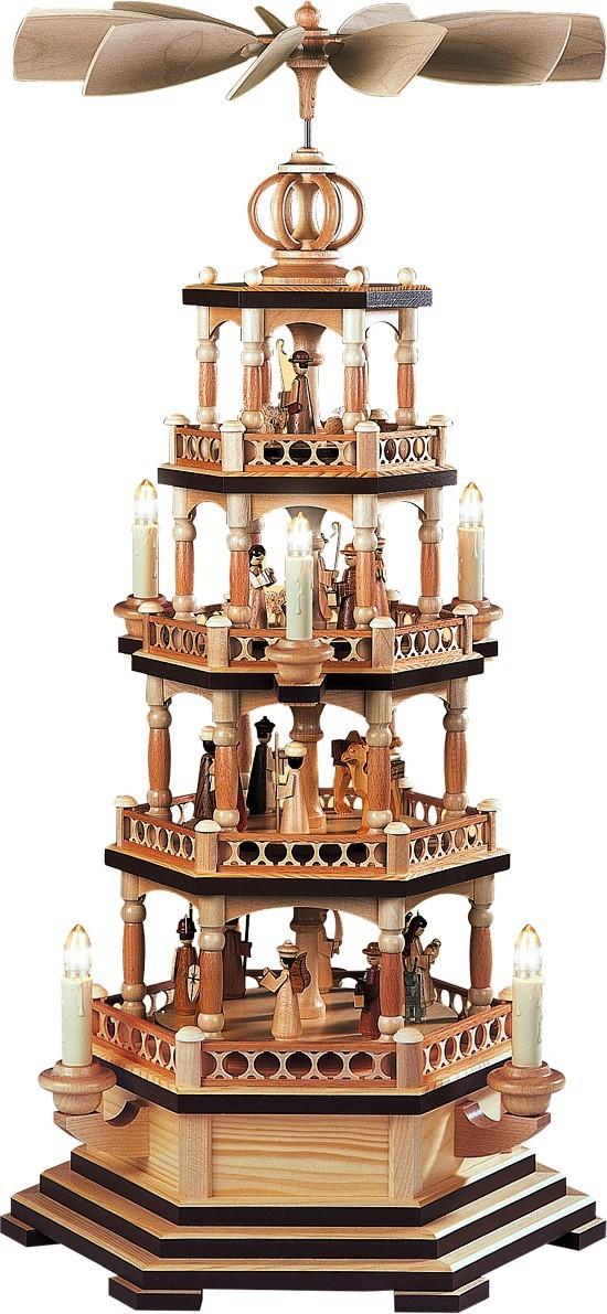 Pyramide heilige Geschichte -brauner Sockelrand 4-stöckig Natur