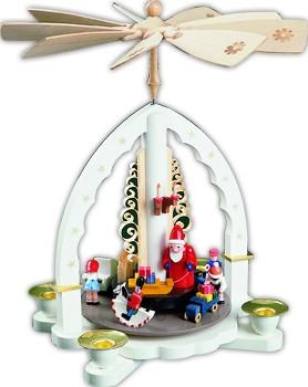Weihnachtspyramide Weihnachtsbescherung, weiß