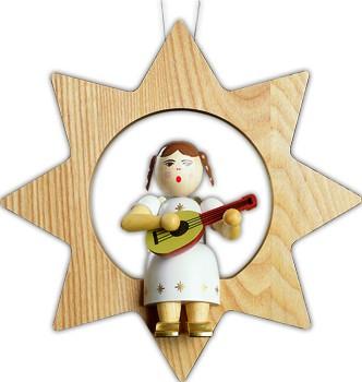 Baumbehang Engel mit Mandoline im Stern, groß