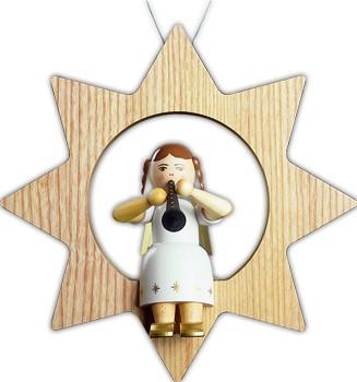 Baumbehang Engel mit Klarinette im Stern, groß