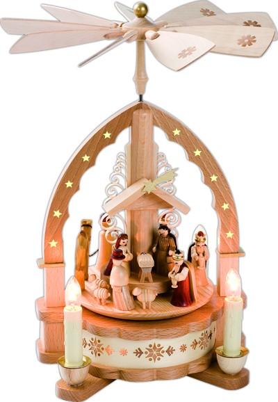 Tischpyramide Christi Geburt, elektrisch beleuchtet und betrieben