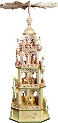 Weihnachtspyramide 4-stöckig Gotik, Christi Geburt