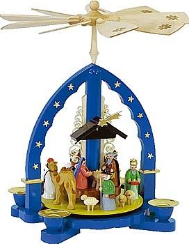 Weihnachtspyramide Heilige Drei Könige, blau