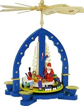 Weihnachtspyramide Weihnachtsbescherung, blau