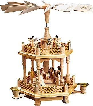 Weihnachtspyramide Christi Geburt 1-stöckig, natur