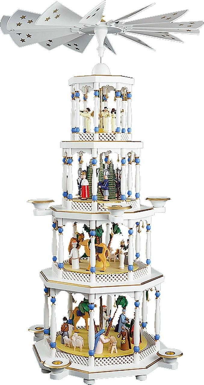 Pyramide Romantik 5-stöckig, weiß, elektrisch beleuchtet, mit Spielwerk