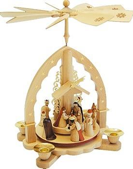 Weihnachtspyramide Christi Geburt, helles Gehäuse