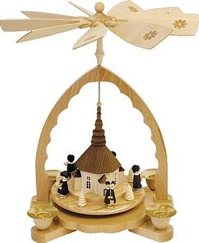 Weihnachtspyramide Seiffener Kirche mit Kurrende