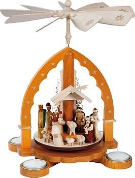 Teelichtpyramide Christi Geburt, natur, für Teelichte