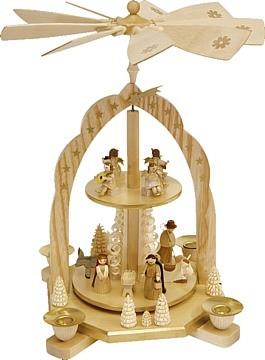 Weihnachtspyramide 2-stöckig Geburt mit Engeln