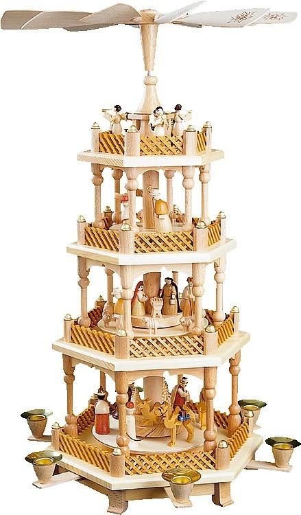 Weihnachtspyramide Christi Geburt, 3-stöckig, natur