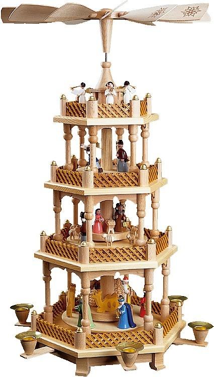 Weihnachtspyramide Christi Geburt, 3-stöckig, bunt