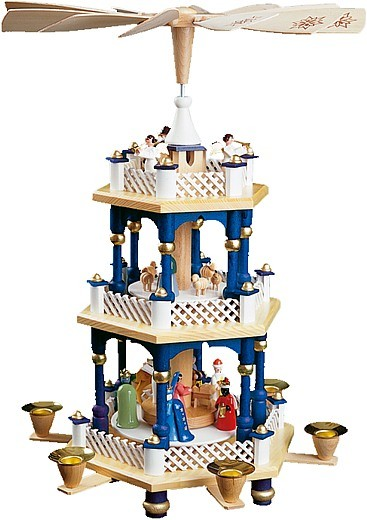 Weihnachtspyramide Christi Geburt, 2-stöckig, blau