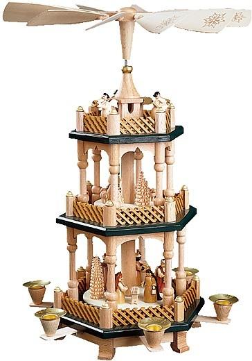 Weihnachtspyramide Christi Geburt, 2-stöckig, natur
