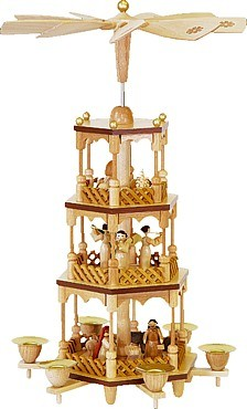 Pyramide Christi Geburt, 3-stöckig, natur