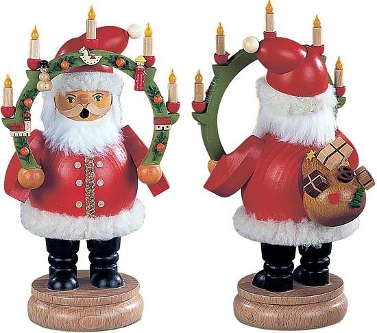 Räuchermännchen Weihnachtsmann mit Kerzenbogen