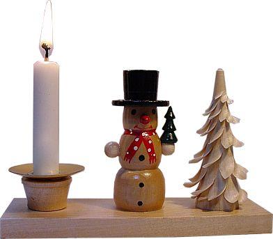 Kerzehnhalter Schneemann und Spanbaum