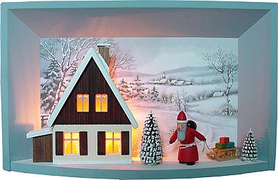 Wandbild elektrisch beleuchtet mit Weihnachtsmann