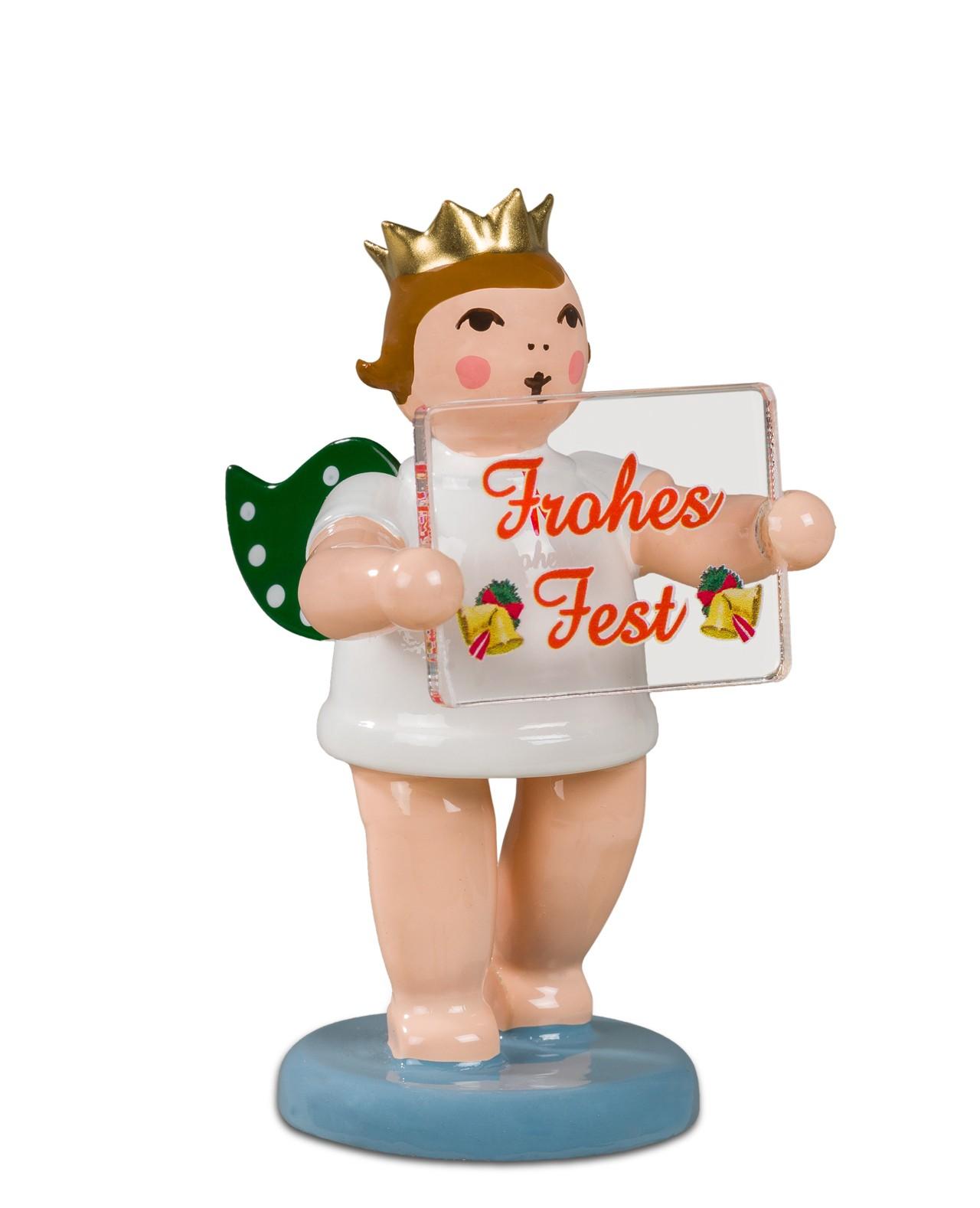 Adventengel mit Weihnachtsschild - Frohes Fest, mit Krone