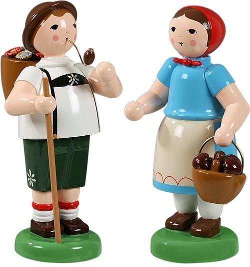 Bauernpaar mit Wanderstab und Pilzkorb
