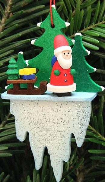 Baumbehang Weihnachtsmann mit Schlitten auf Eiszapfen